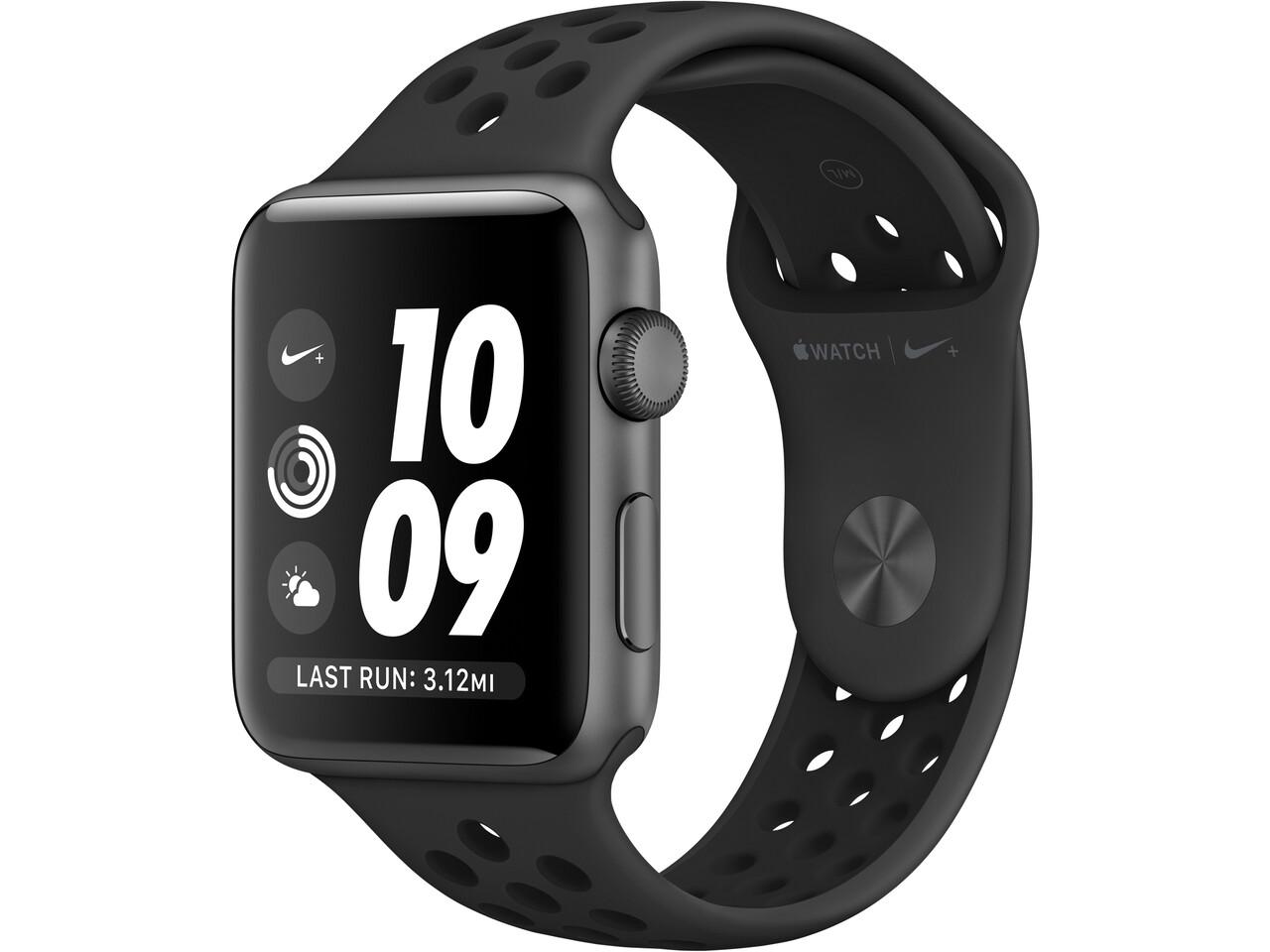 apple watch nike series 3 42mm space gray aluminum black nike sport band