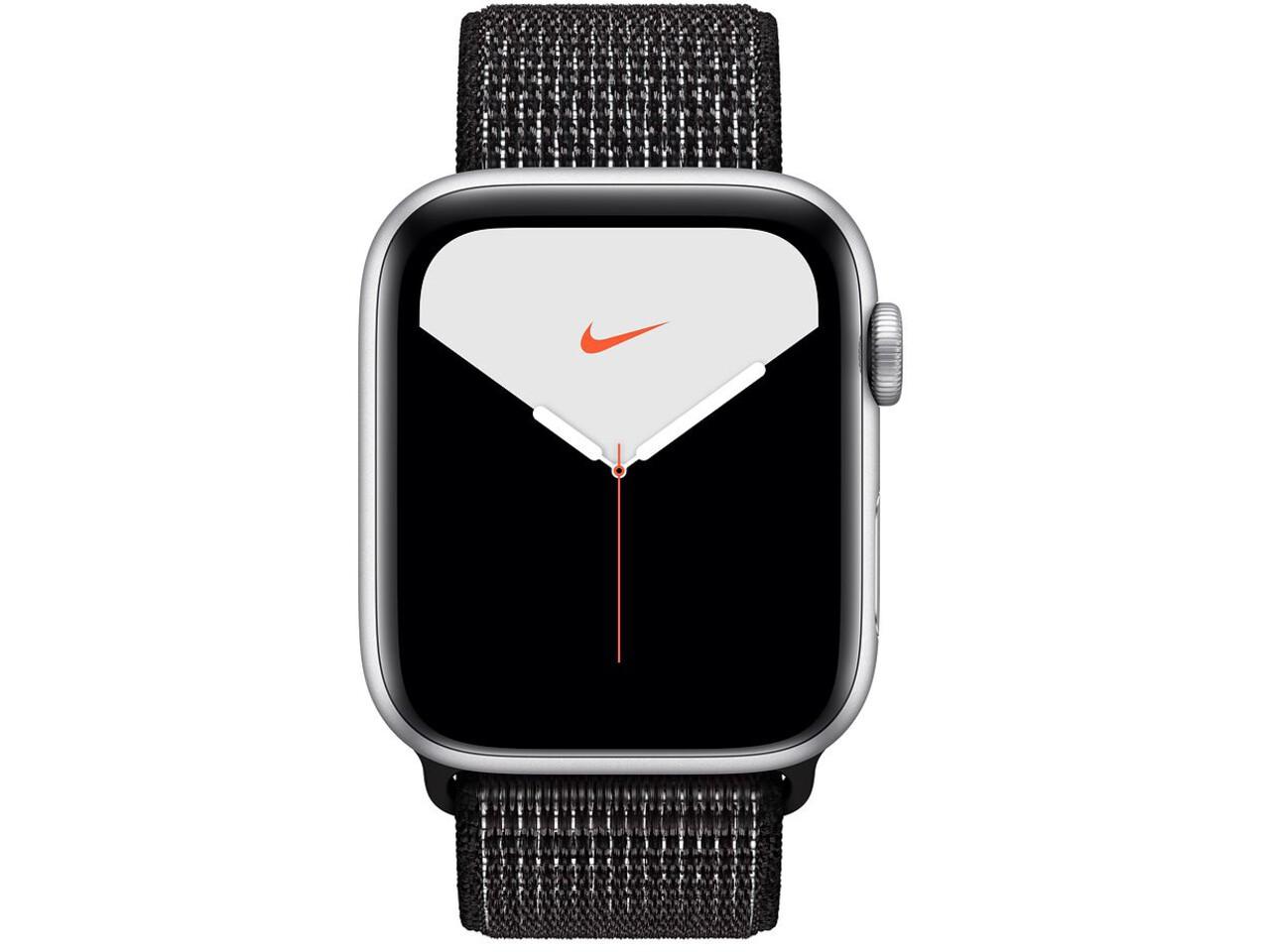 apple watch nike series 5 44mm silver aluminum black nike sport loop