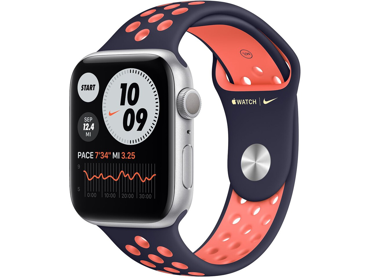 apple watch nike series 6 40mm silver aluminum pure platinumblack nike sport band