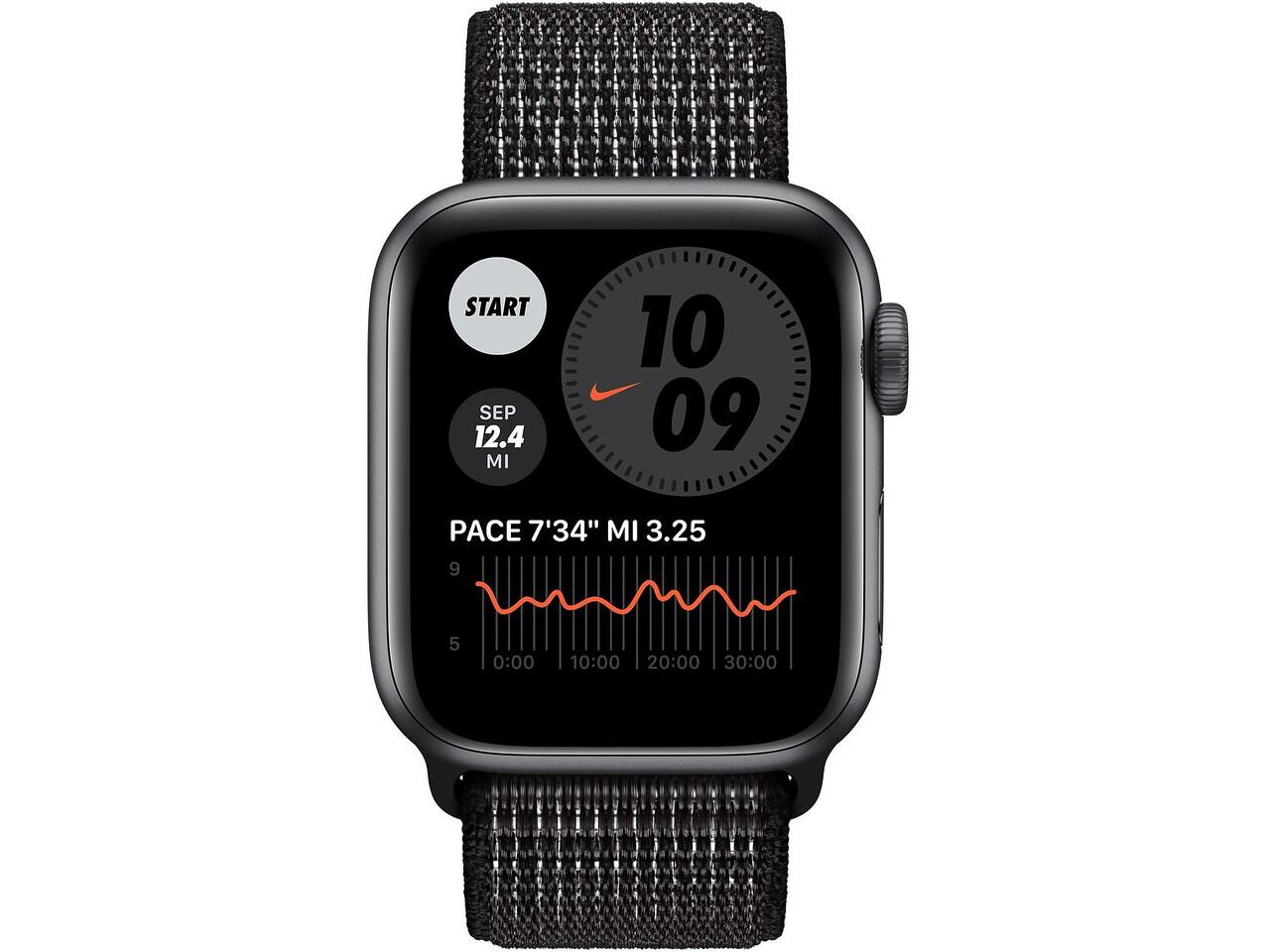 apple watch nike series 6 40mm space gray aluminum black nike sport loop