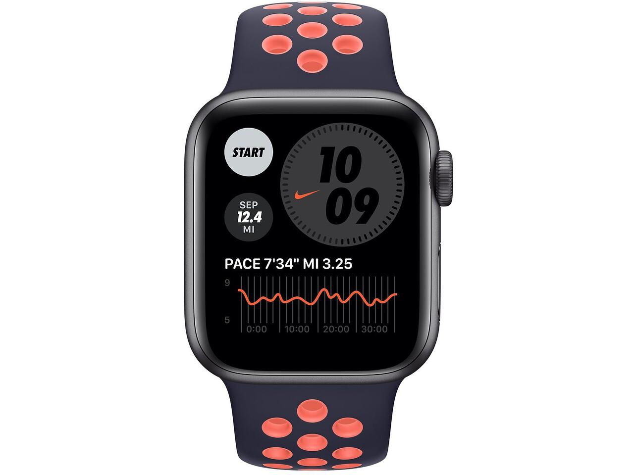 apple watch nike series 6 40mm space gray aluminum blue blackbright mango nike sport band