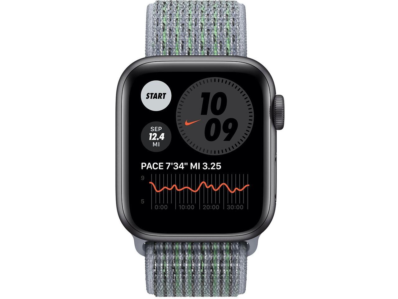 apple watch nike series 6 40mm space gray aluminum obsidian mist nike sport loop