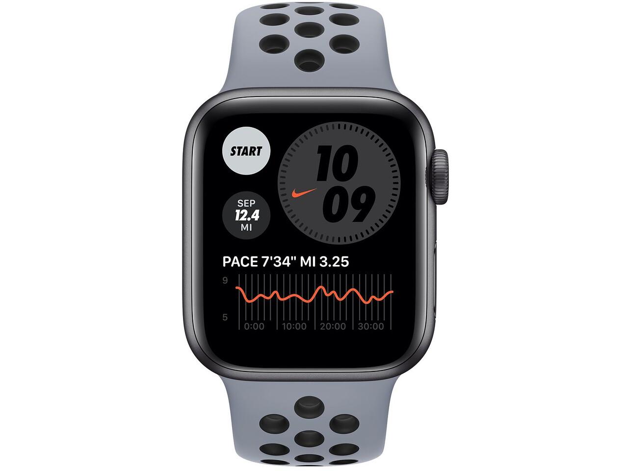 apple watch nike series 6 40mm space gray aluminum obsidian mistblack nike sport band