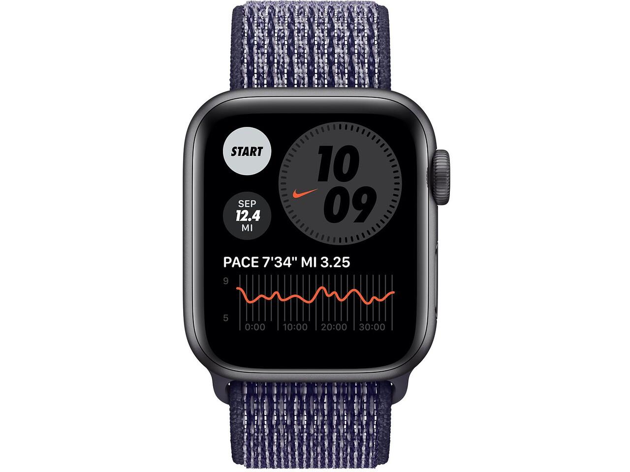 apple watch nike series 6 40mm space gray aluminum purple pulse nike sport loop