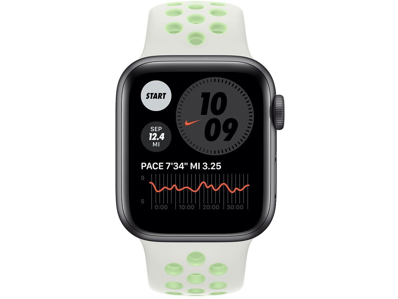 apple watch nike series 6 40mm space gray aluminum spruce auravapor green nike sport band