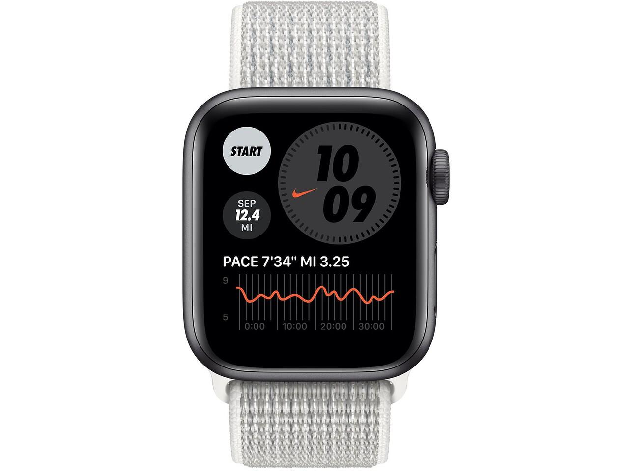 apple watch nike series 6 40mm space gray aluminum summit white nike sport loop