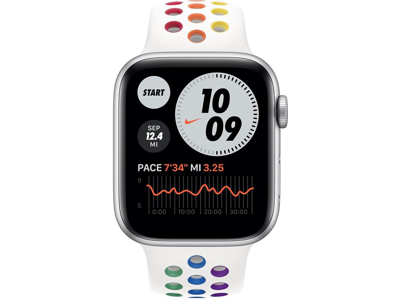 apple watch nike series 6 44mm silver aluminum pride nike sport band