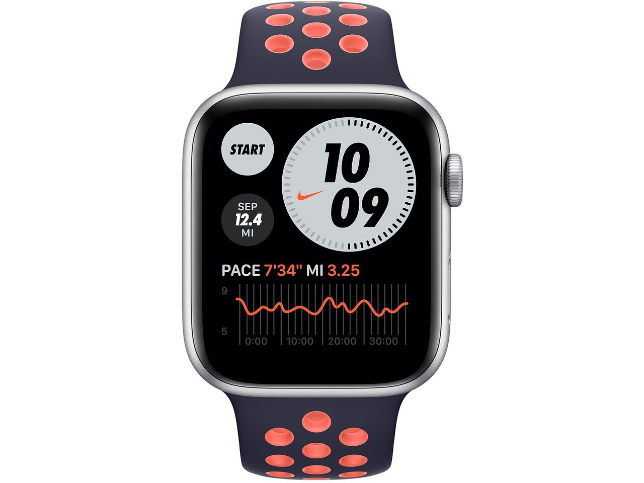 apple watch nike series 6 44mm silver aluminum pure platinumblack nike sport band
