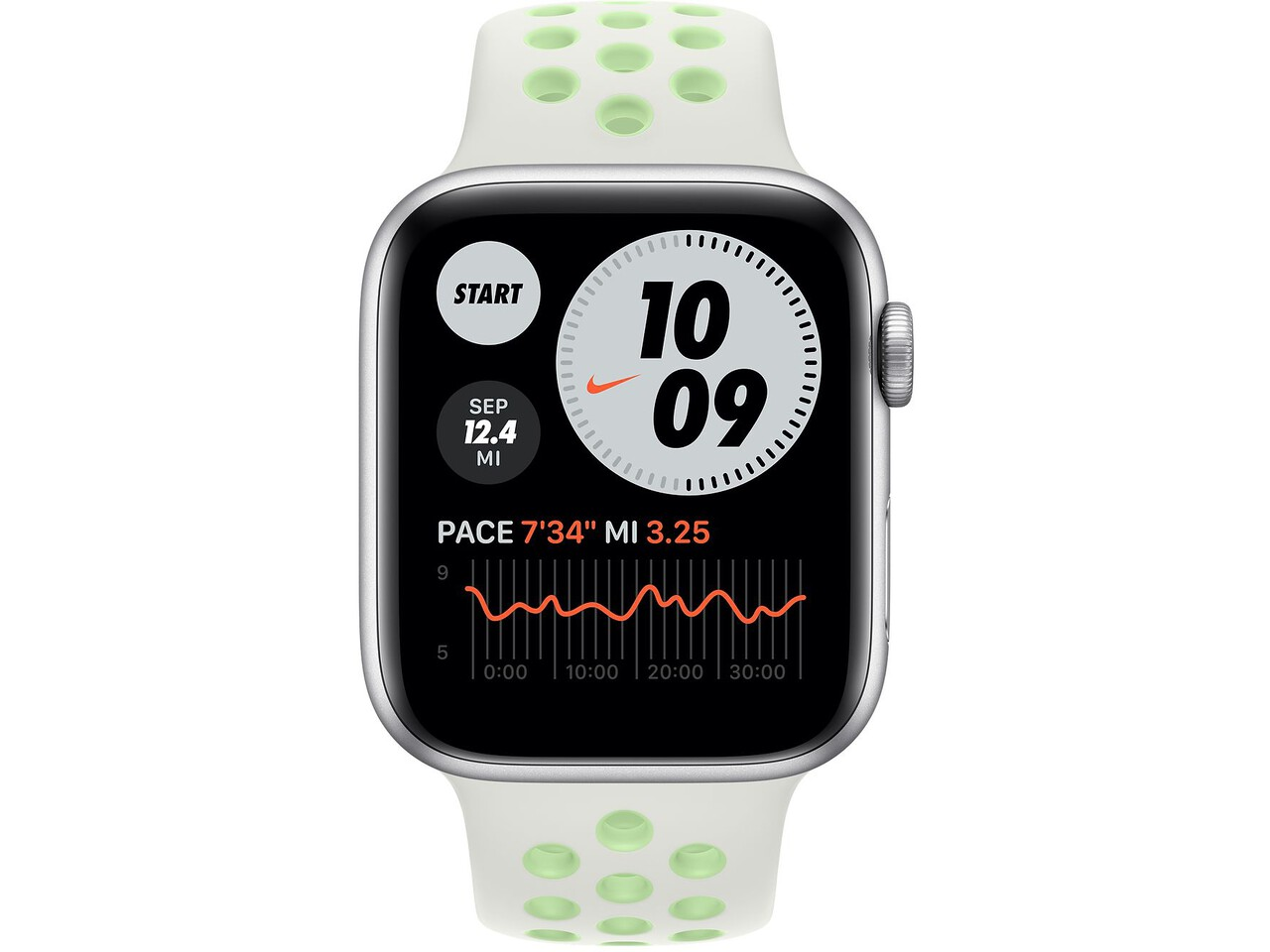 apple watch nike series 6 44mm silver aluminum spruce auravapor green nike sport band