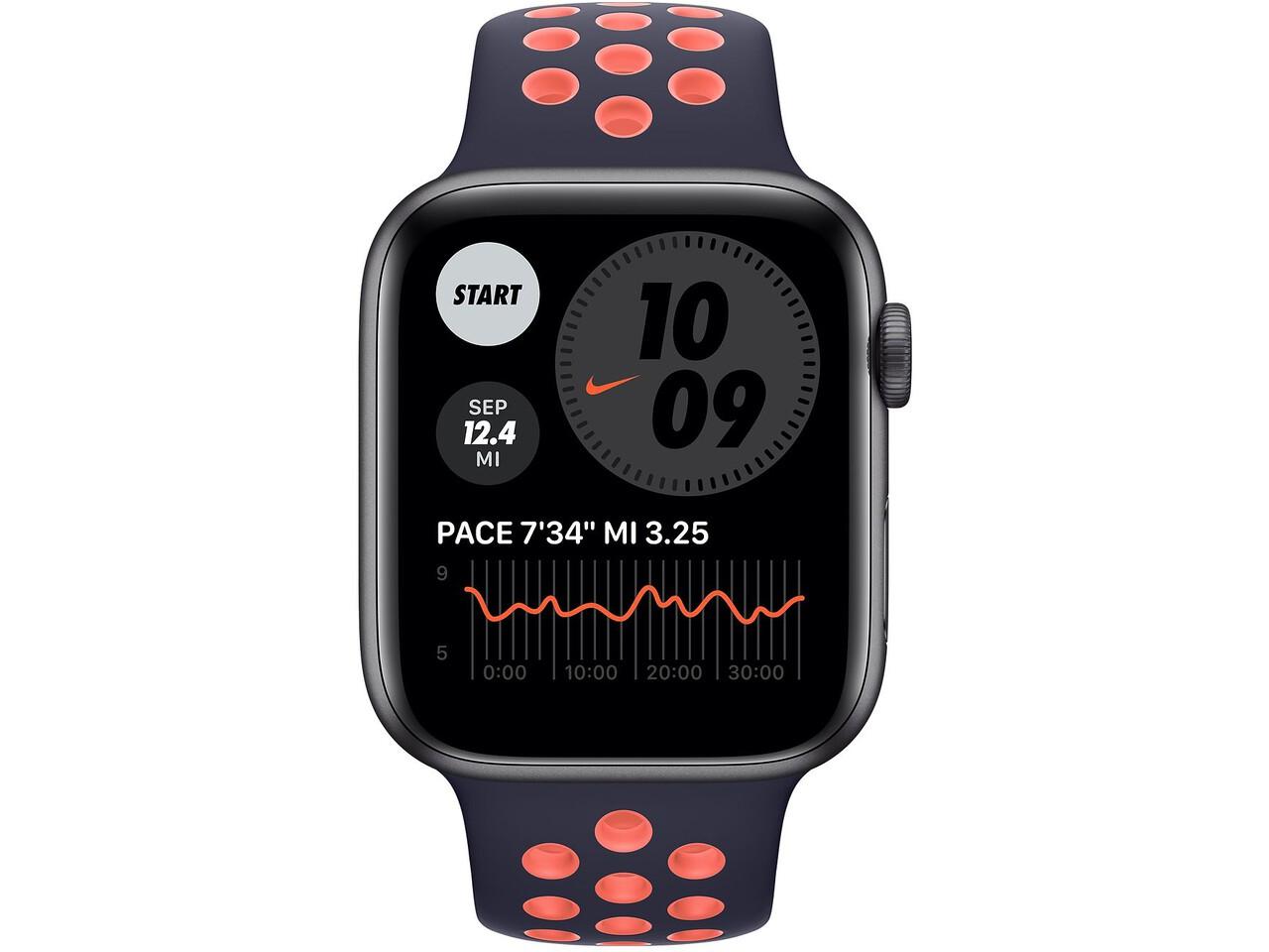 apple watch nike series 6 44mm space gray aluminum blue blackbright mango nike sport band