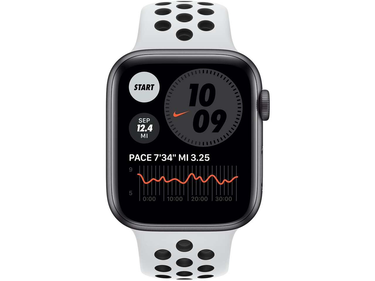 apple watch nike series 6 44mm space gray aluminum pure platinumblack nike sport band