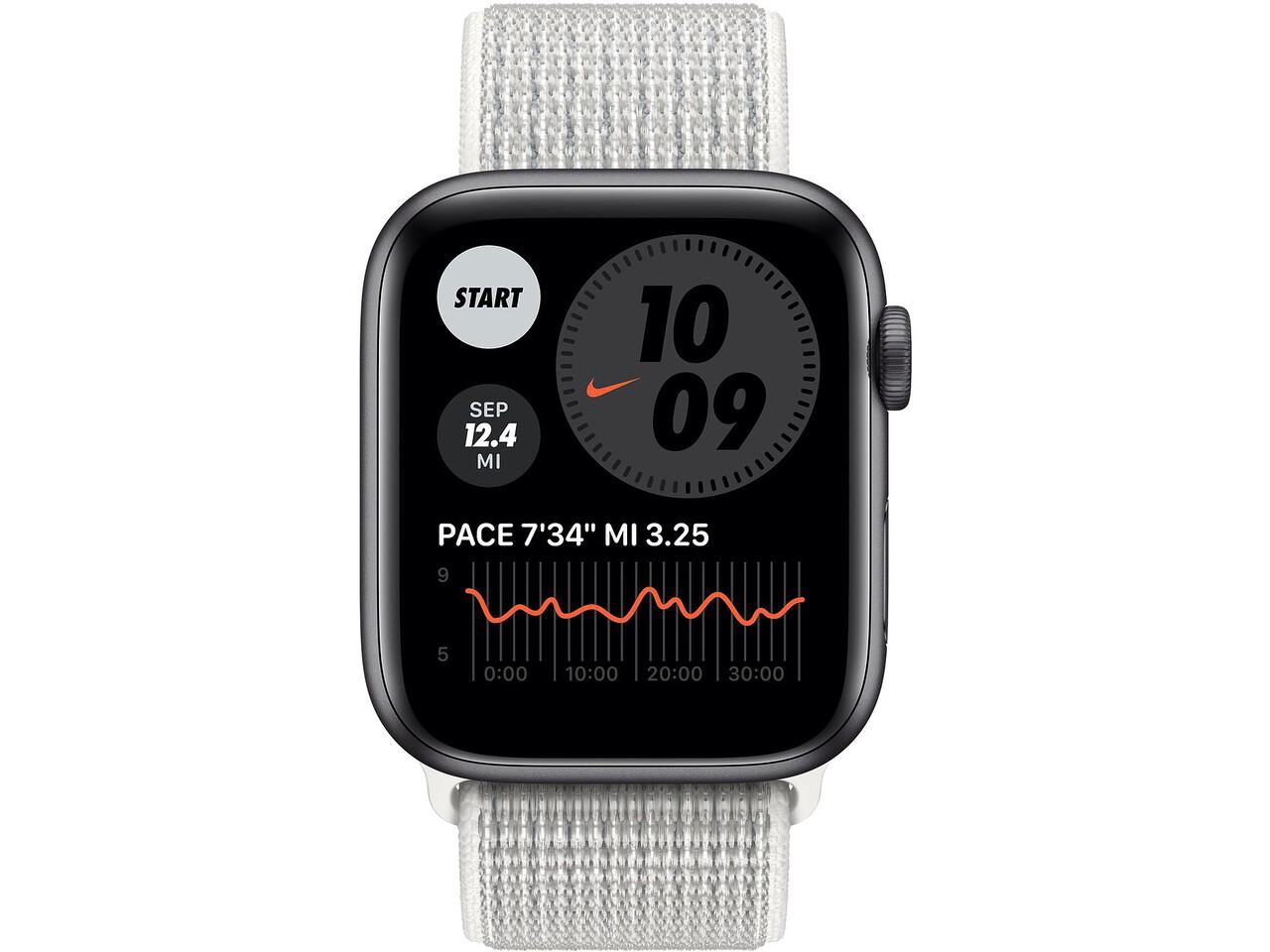 apple watch nike series 6 44mm space gray aluminum summit white nike sport loop