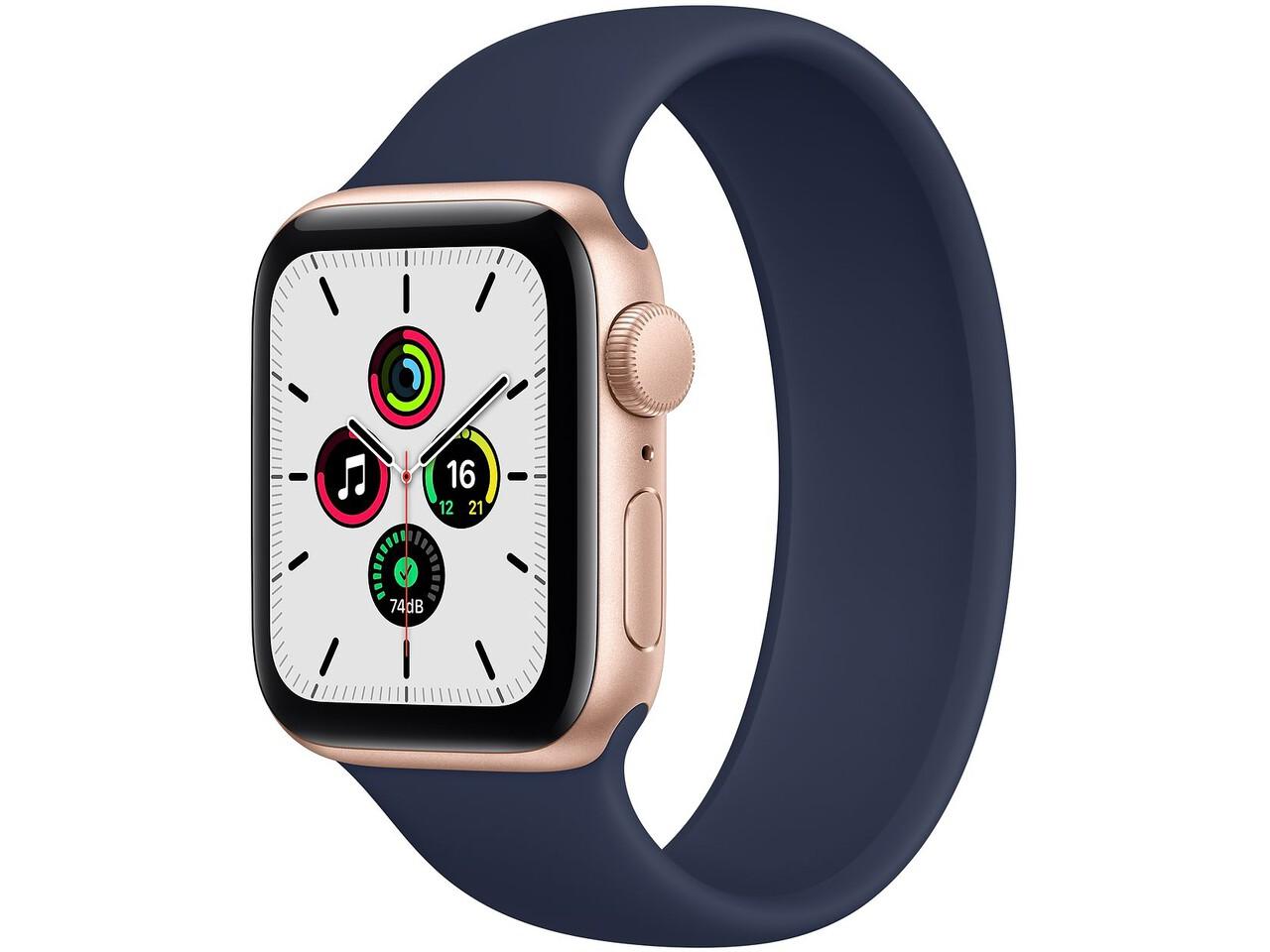 apple watch se 40mm gold aluminum deep navy solo loop