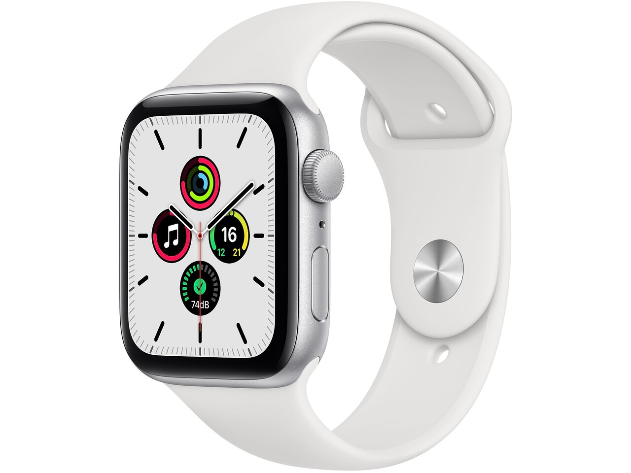 apple watch se 40mm silver aluminum white sport band