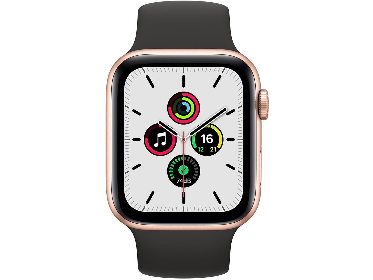 apple watch se 44mm gold aluminum black solo loop