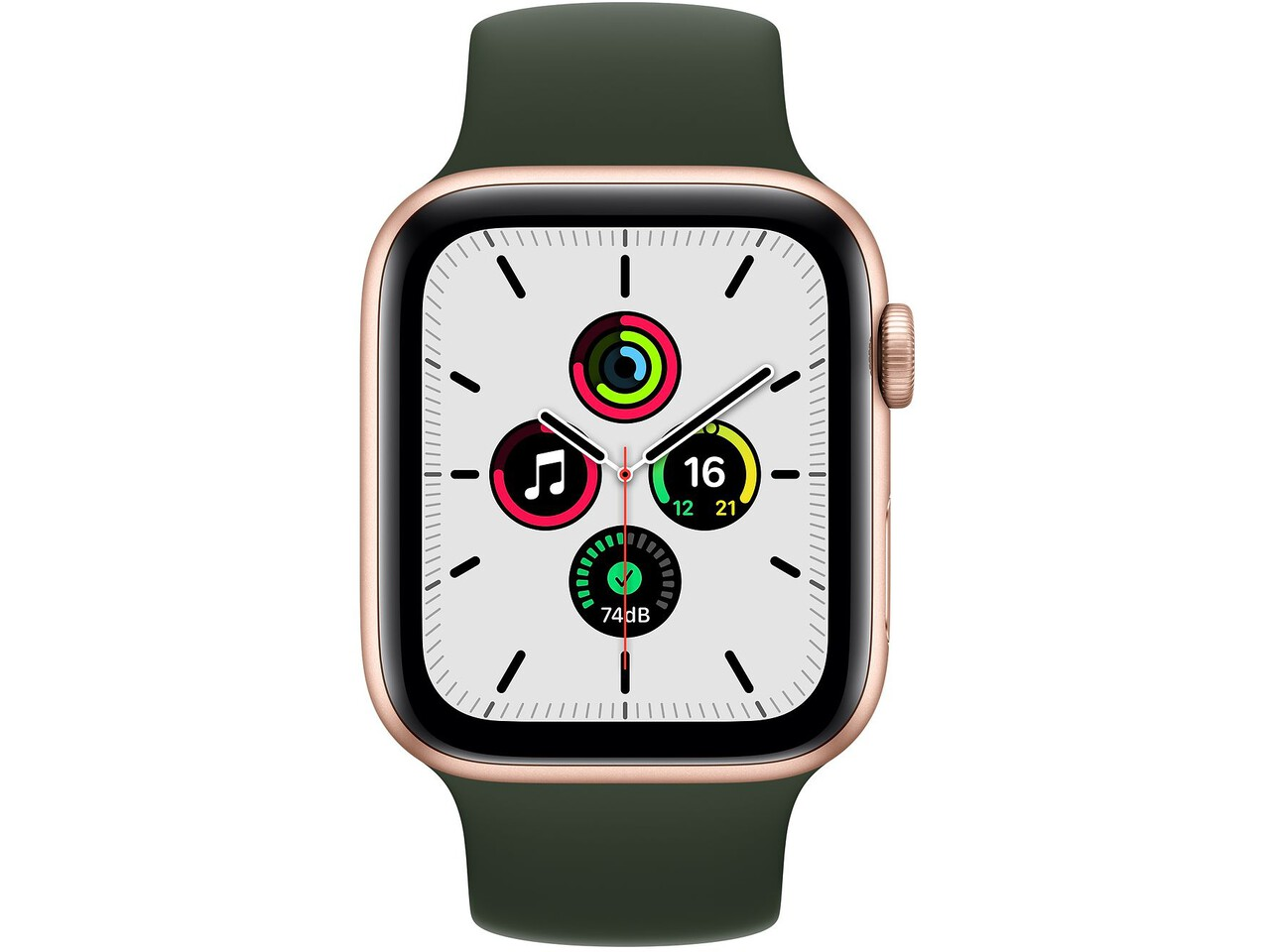 apple watch se 44mm gold aluminum cyprus green solo loop