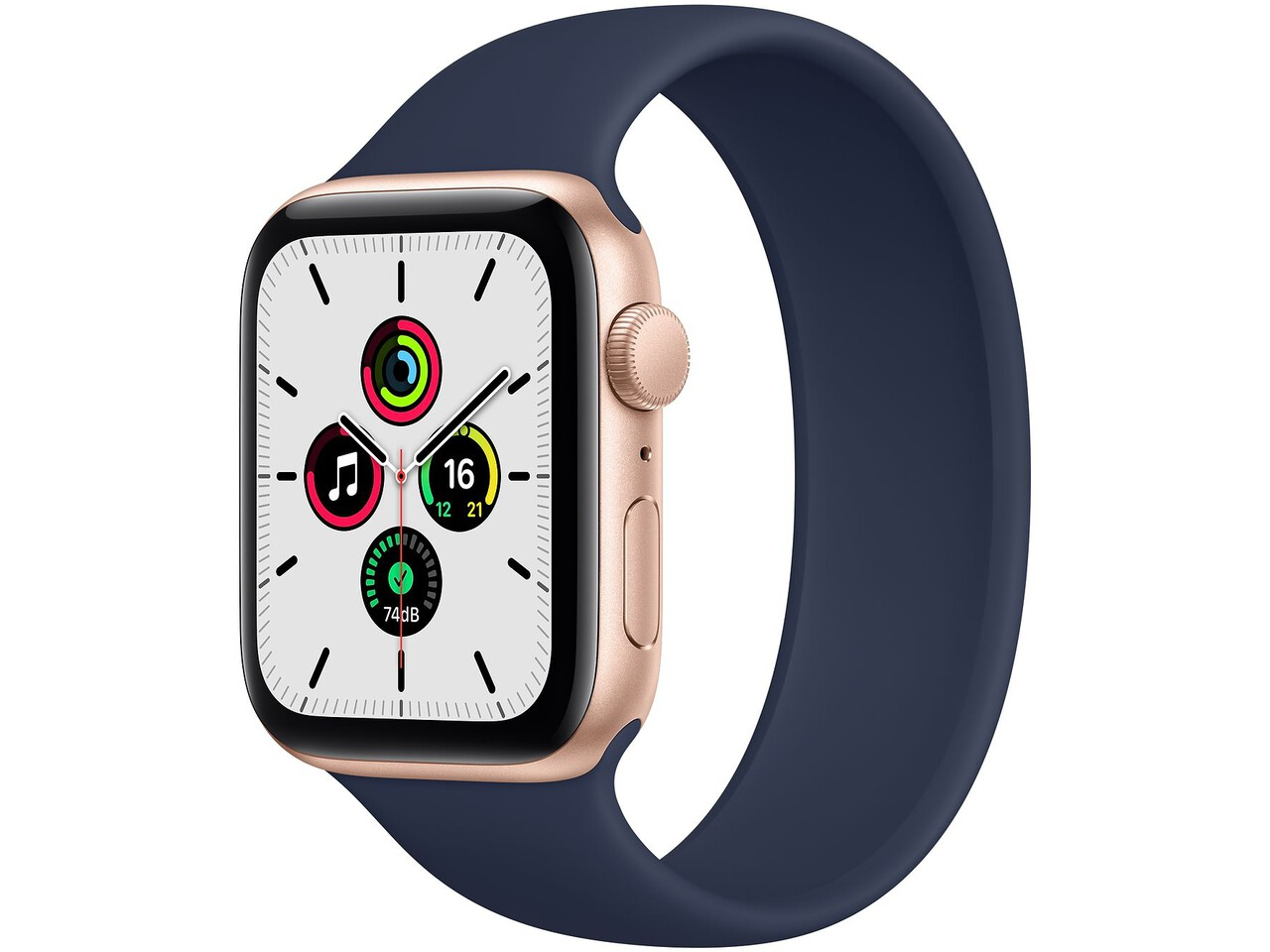 apple watch se 44mm gold aluminum deep navy solo loop