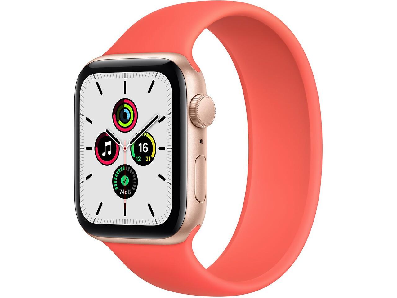 apple watch se 44mm gold aluminum pink citrus solo loop