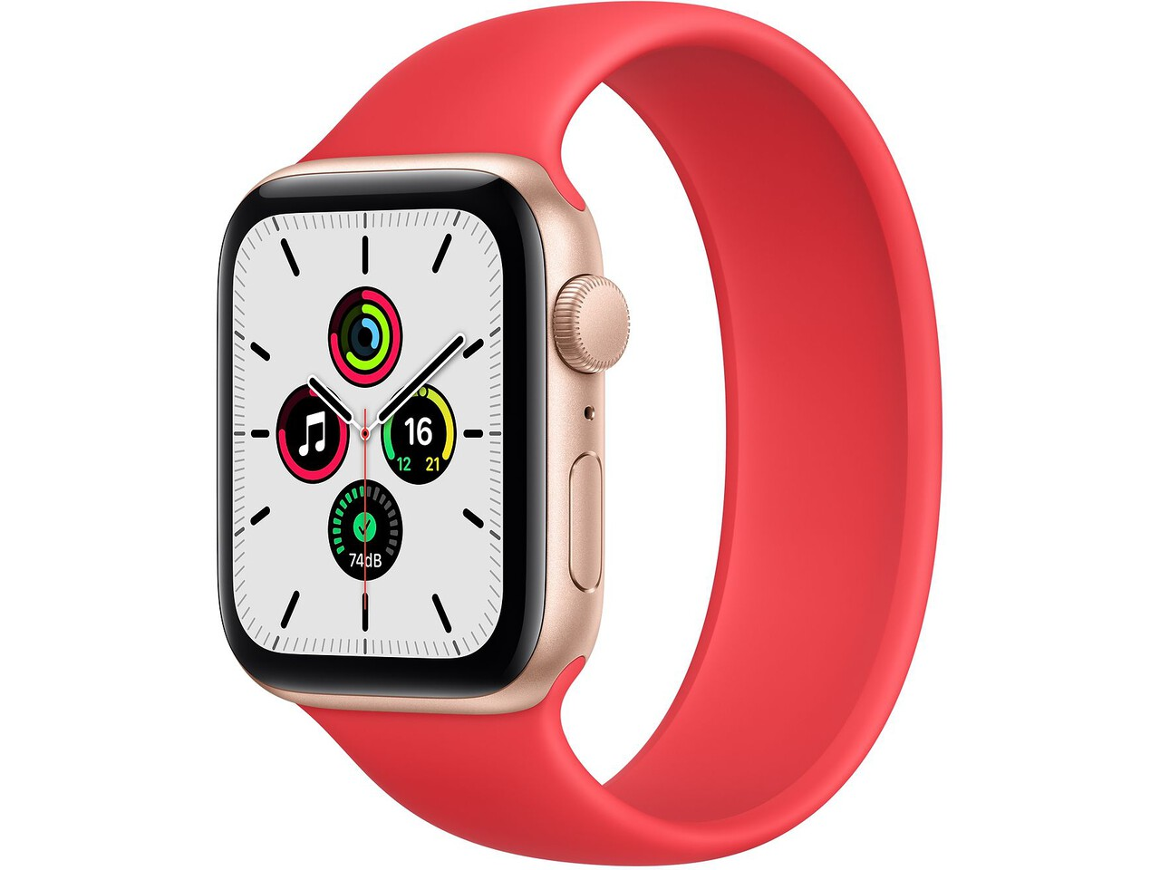 apple watch se 44mm gold aluminum red solo loop