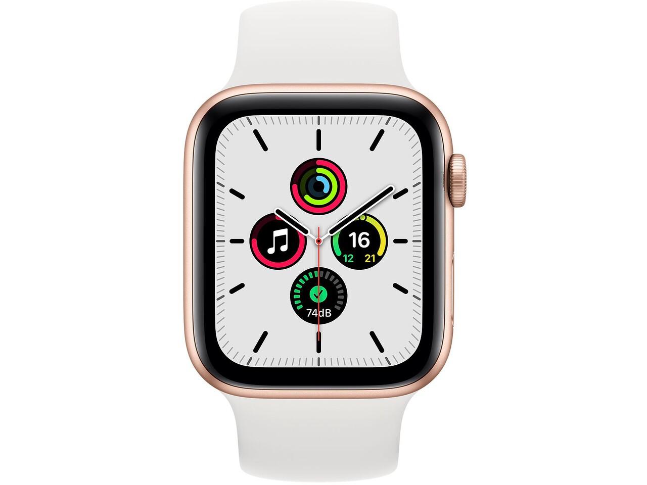 apple watch se 44mm gold aluminum white solo loop