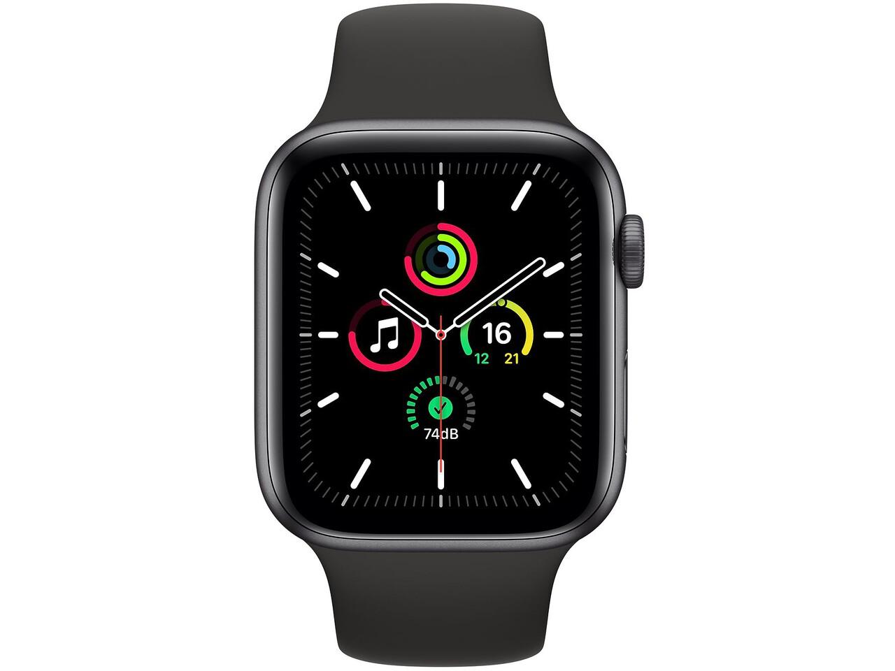 apple watch se 44mm space gray aluminum black sport band