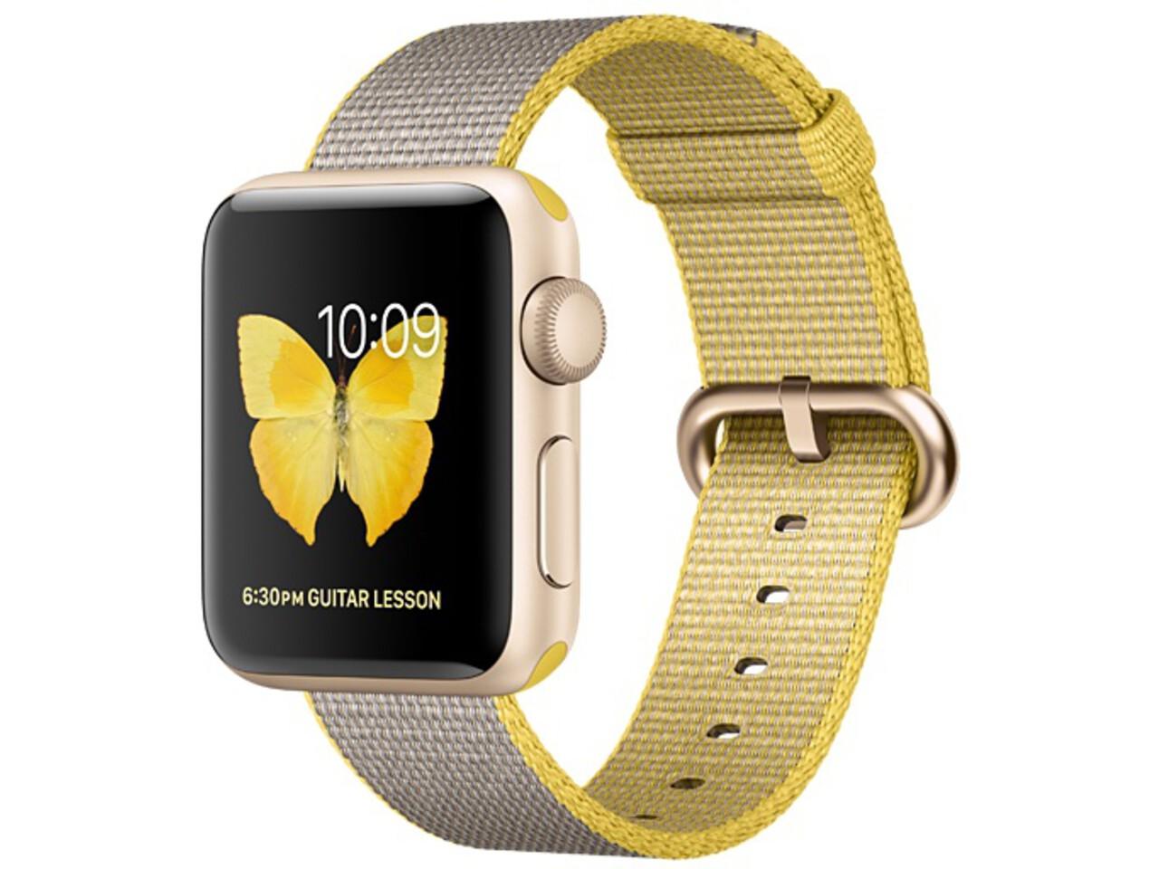 apple watch series 2 38mm gold aluminum yellowlight gray woven nylon band