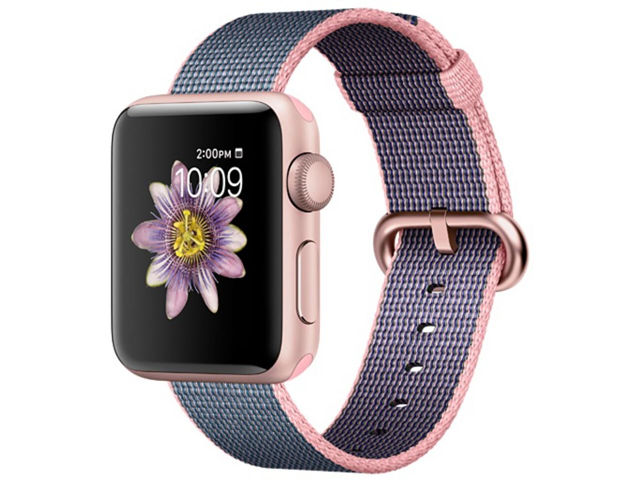 apple watch series 2 38mm rose gold aluminum light pinkmidnight blue woven nylon band