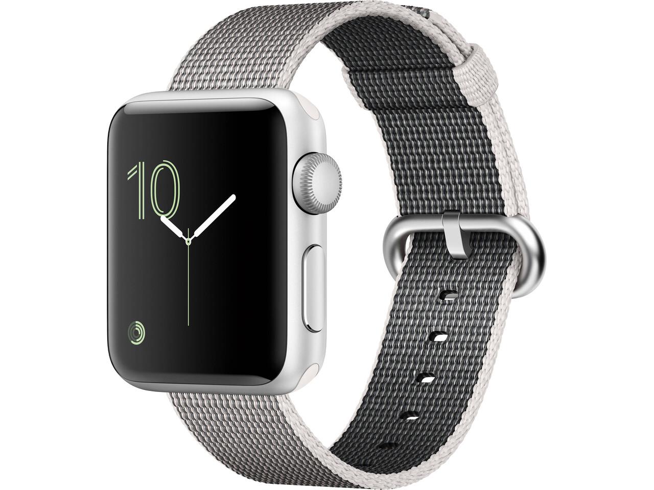 apple watch series 2 38mm silver aluminum white woven nylon