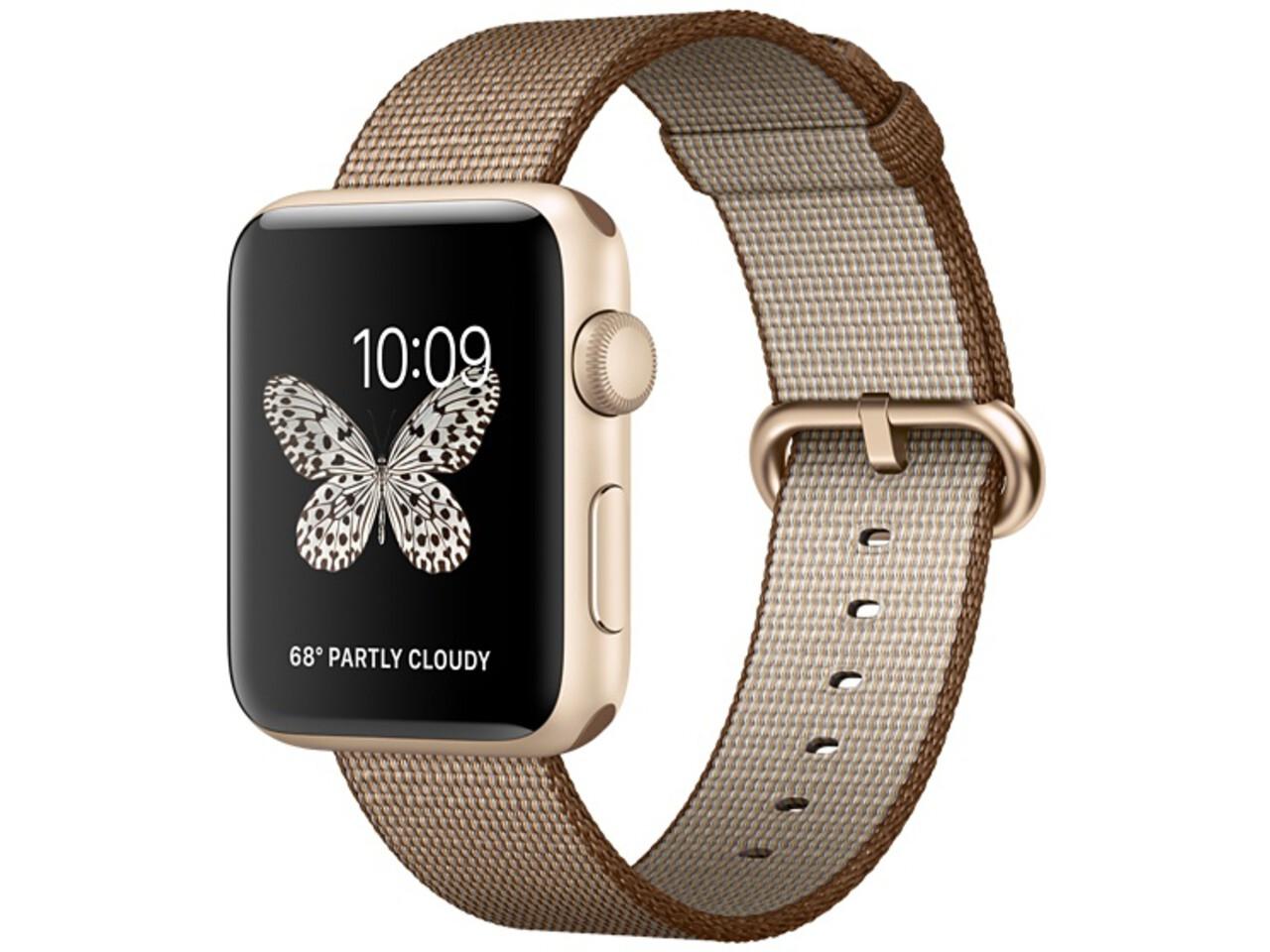 apple watch series 2 42mm gold aluminum toasted coffeecaramel woven nylon band