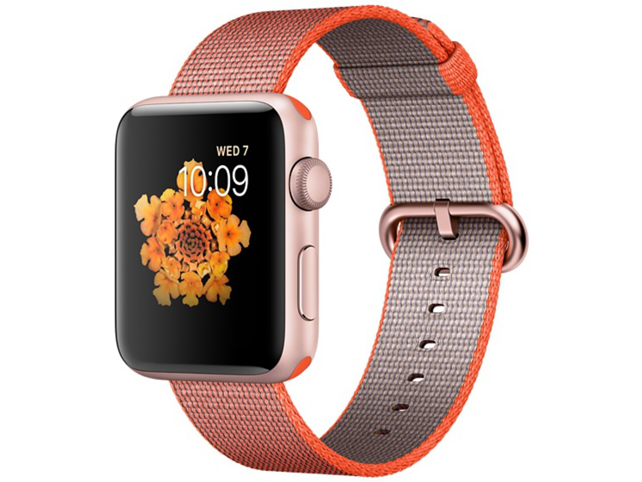 apple watch series 2 42mm rose gold aluminum space orangeanthracite woven nylon band