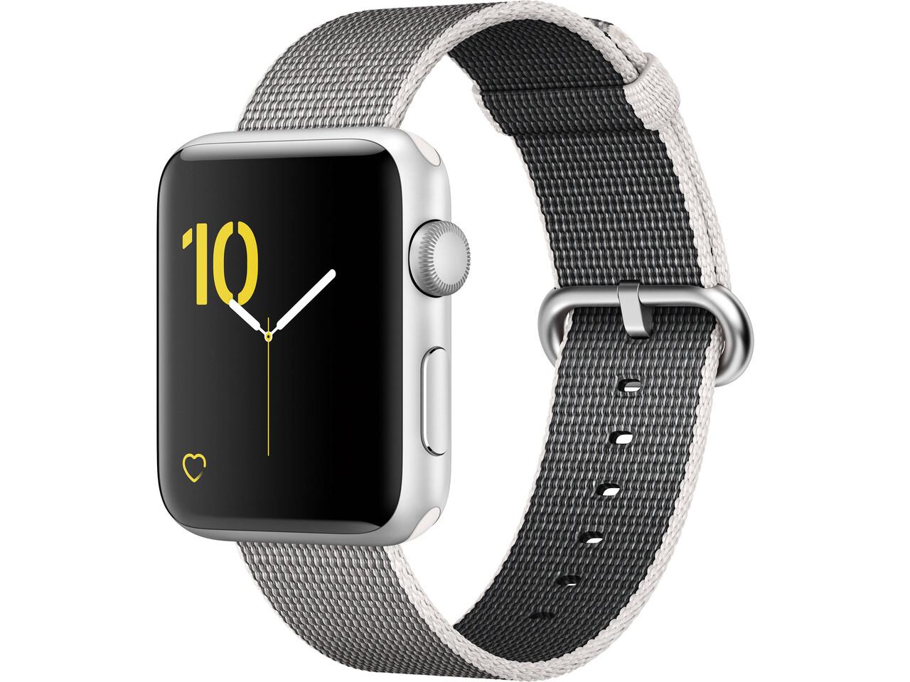 apple watch series 2 42mm silver aluminum white woven nylon