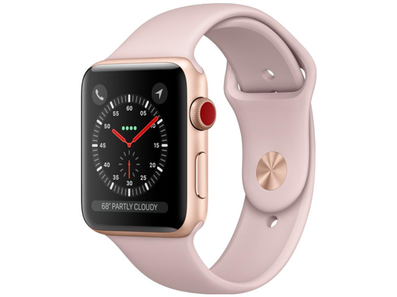 apple watch series 3 cellular 38mm gold aluminum pink sand sport band