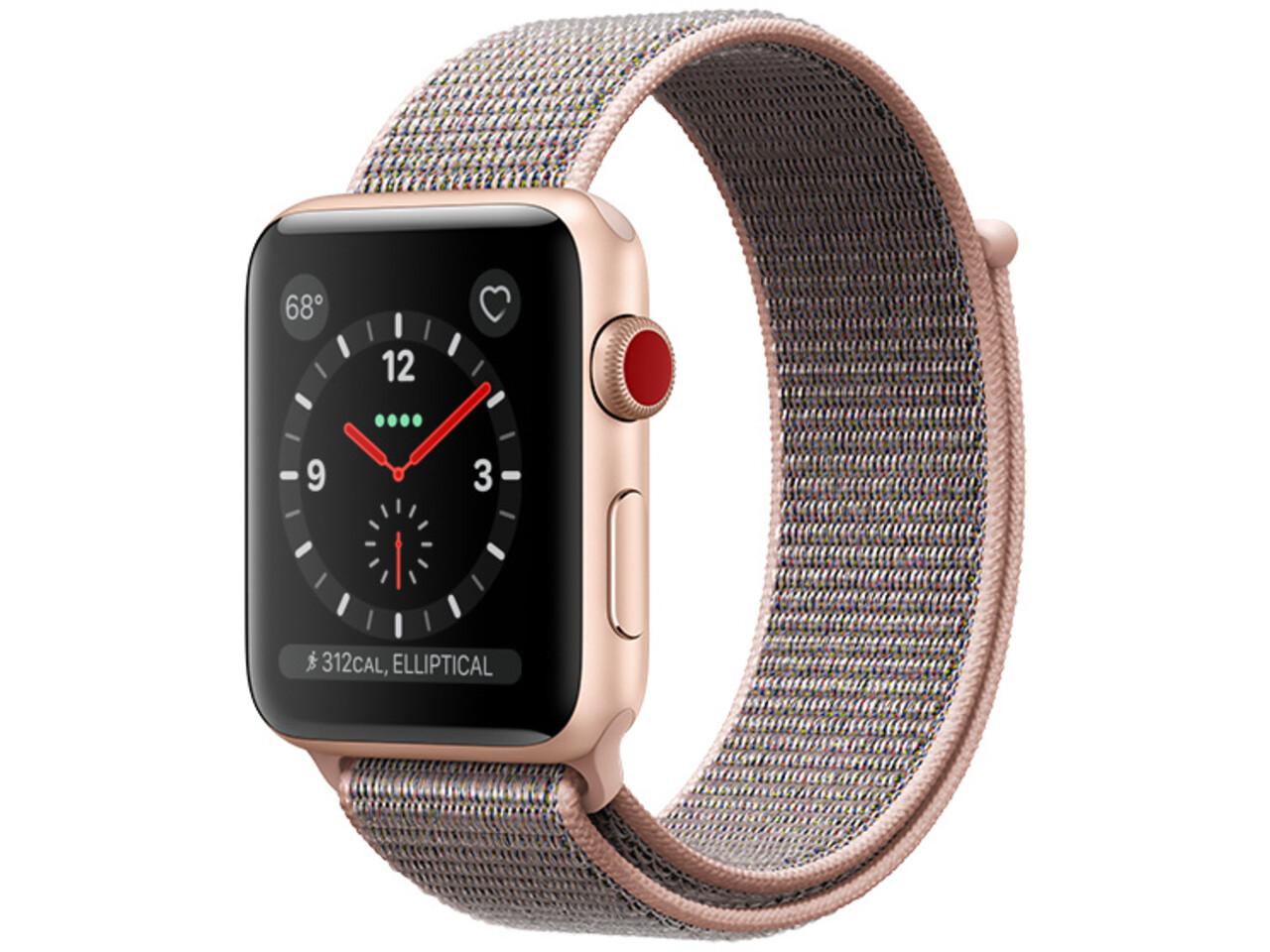 apple watch series 3 cellular 38mm gold aluminum pink sand sport loop
