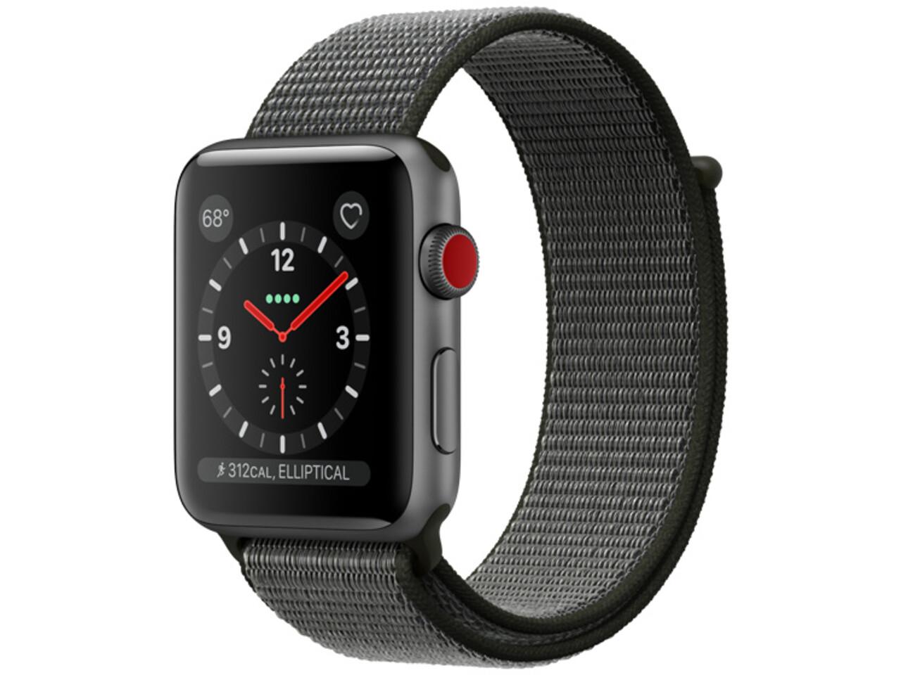 apple watch series 3 cellular 38mm space gray aluminum dark olive sport loop