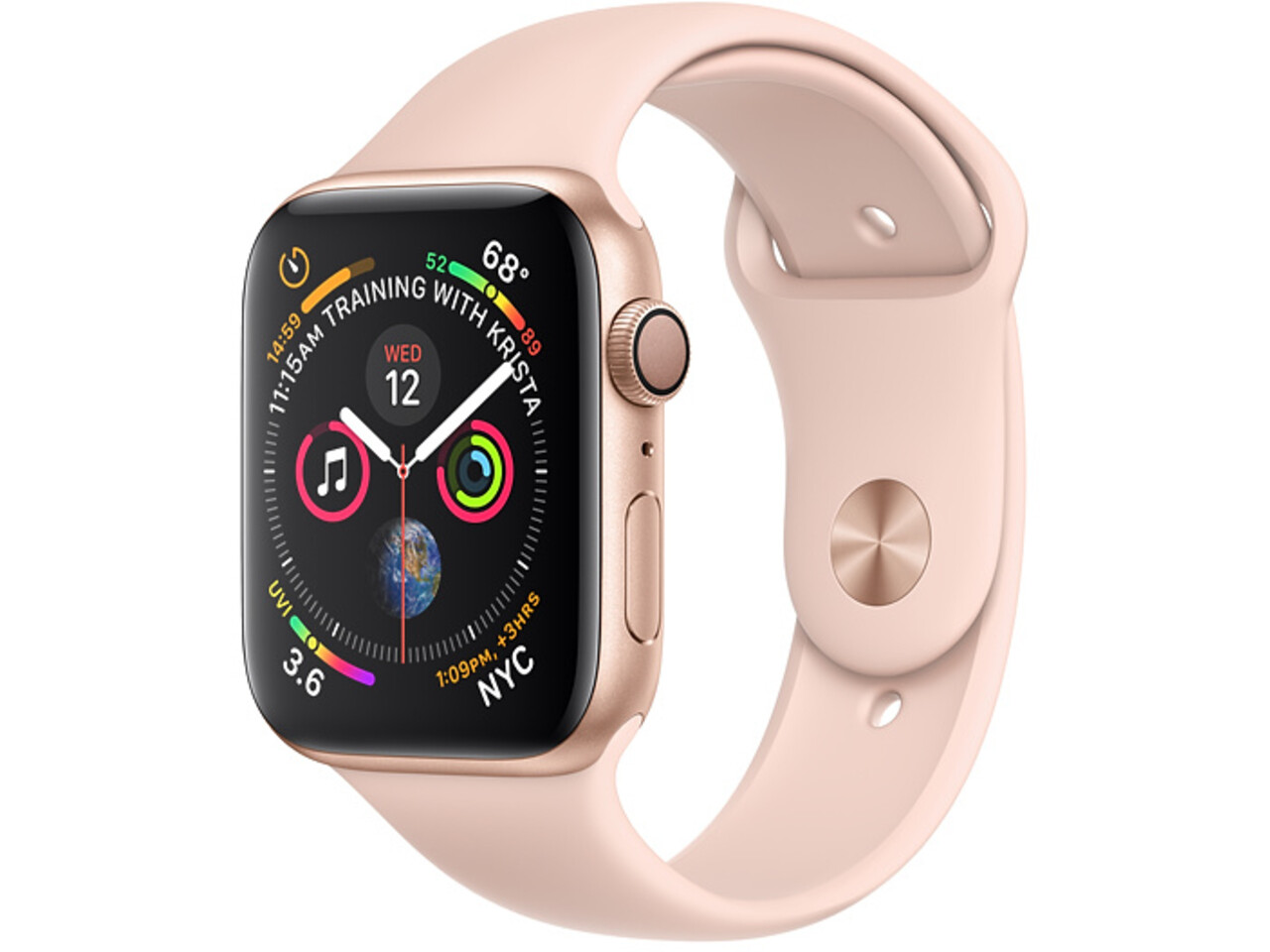 apple watch series 4 44mm gold aluminum pink sand sport band