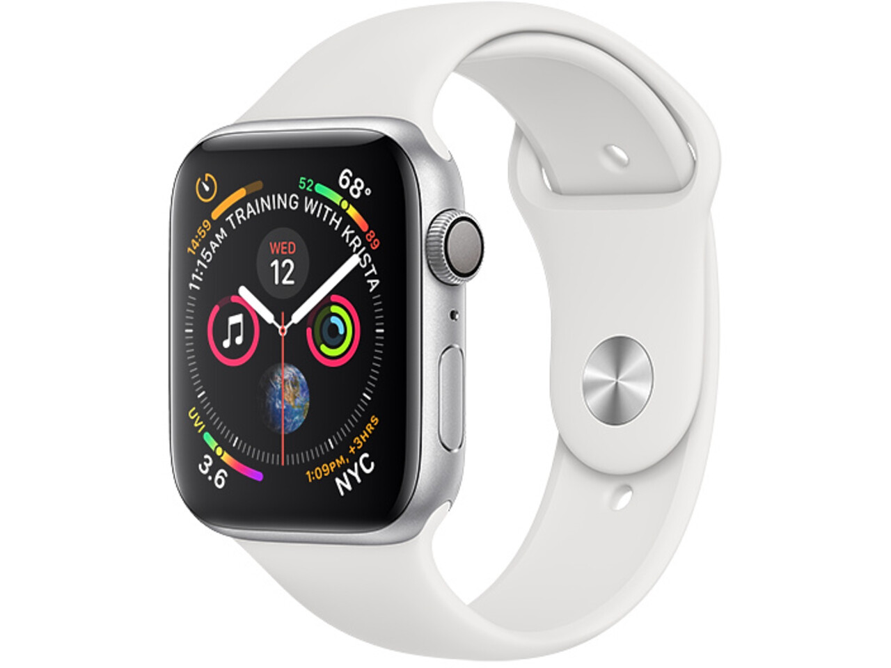 apple watch series 4 44mm silver aluminum white sport band