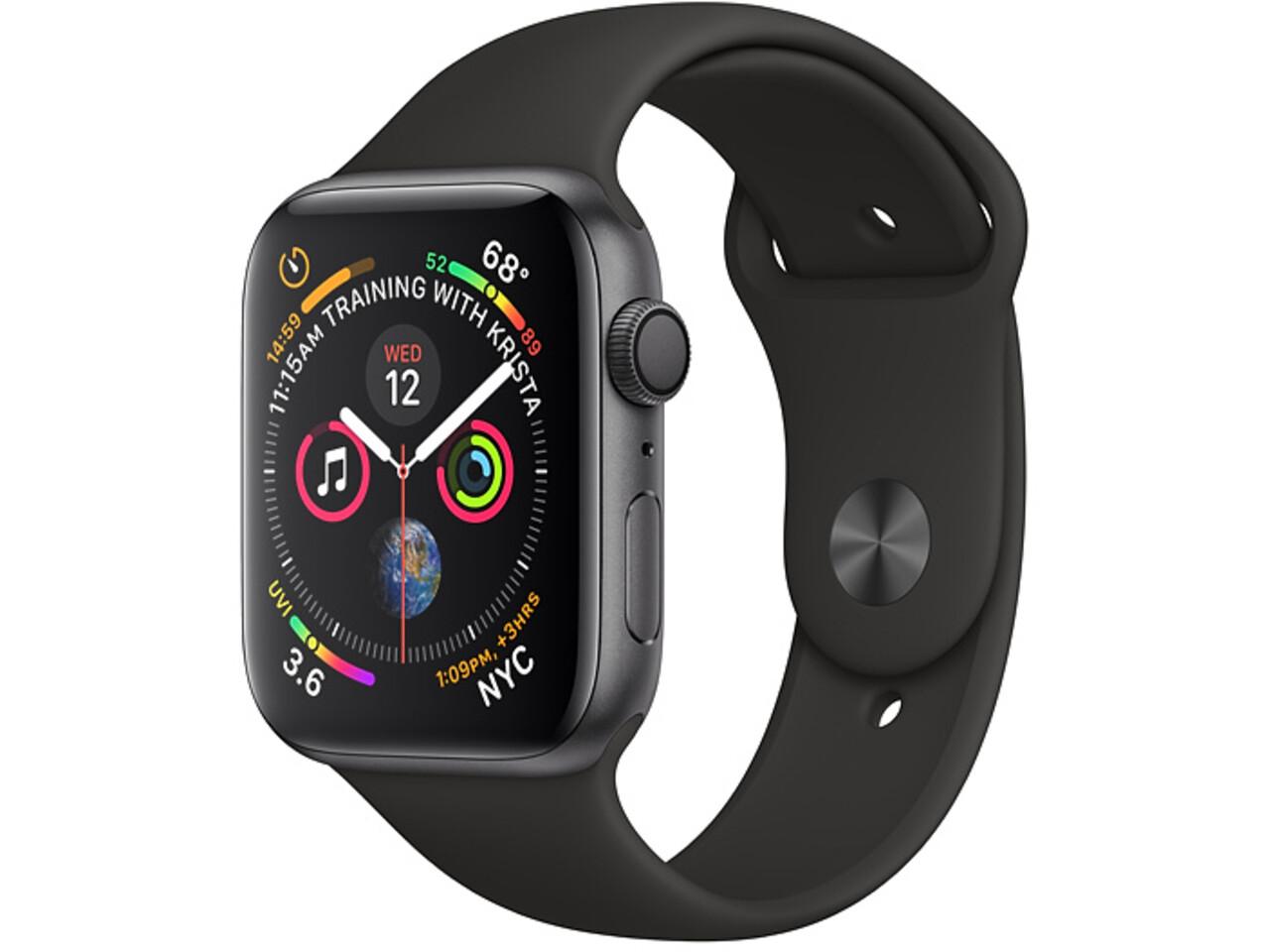 apple watch series 4 44mm space gray aluminum black sport band