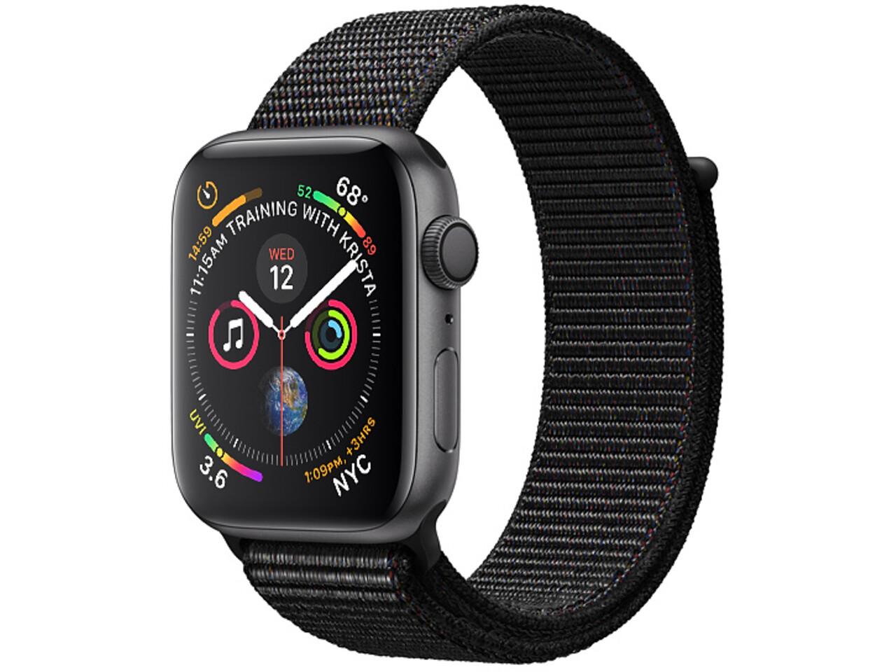 apple watch series 4 44mm space gray aluminum black sport loop