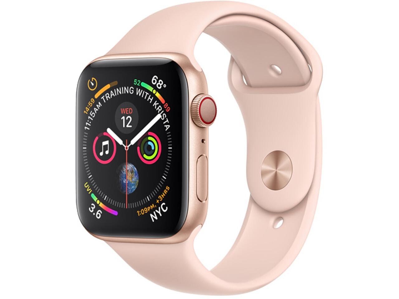 apple watch series 4 cellular 40mm gold aluminum pink sand sport band