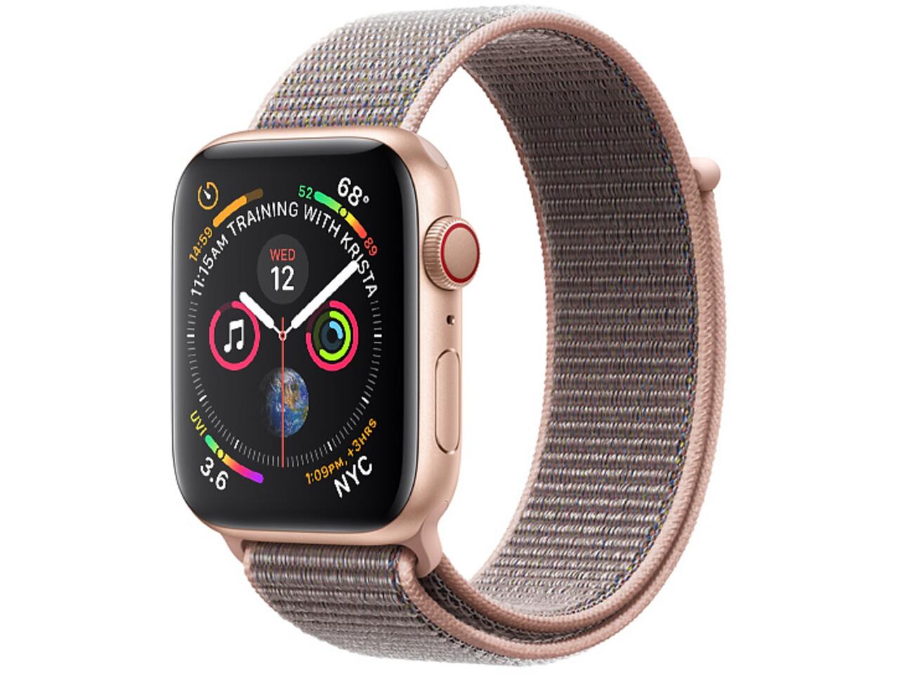 apple watch series 4 cellular 40mm gold aluminum pink sand sport loop