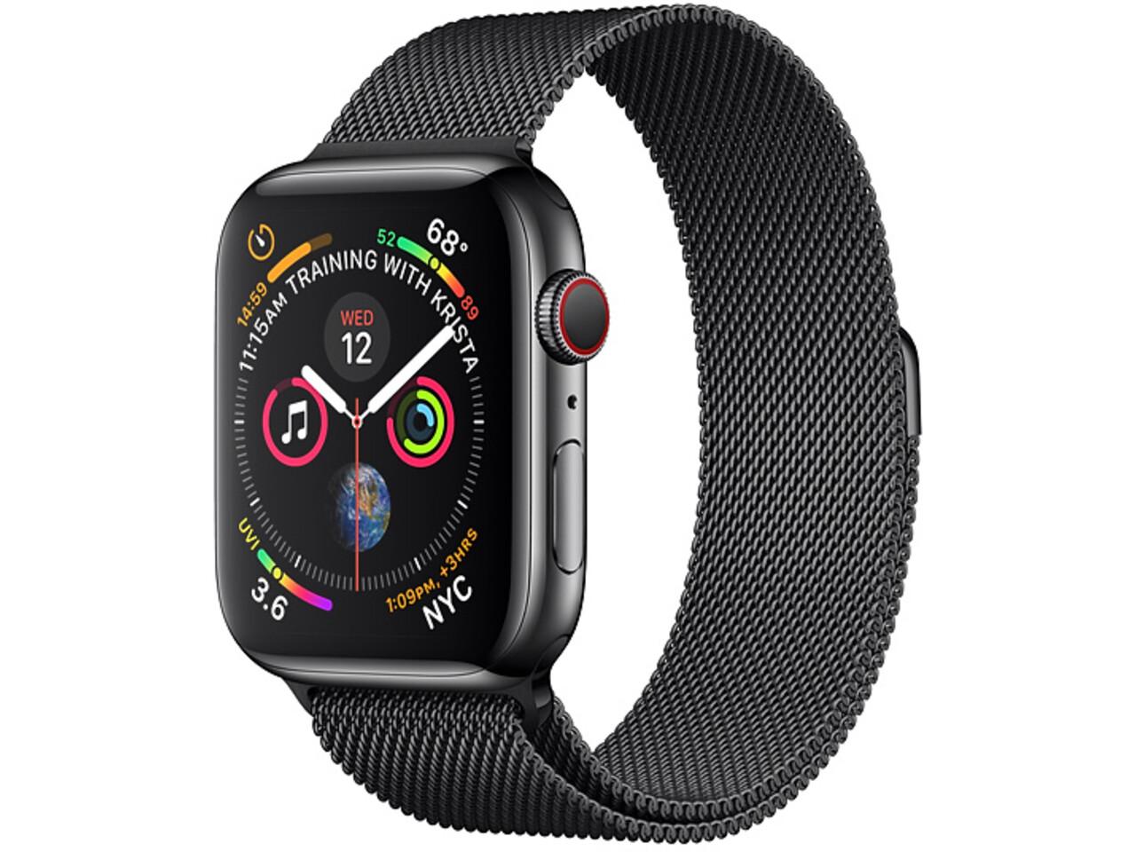 apple watch series 4 cellular 40mm space black stainless steel space black milanese loop