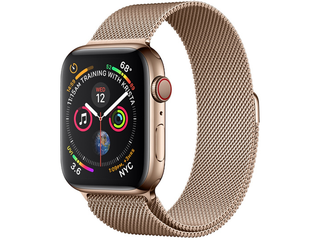 apple watch series 4 cellular 44mm gold stainless steel gold milanese loop