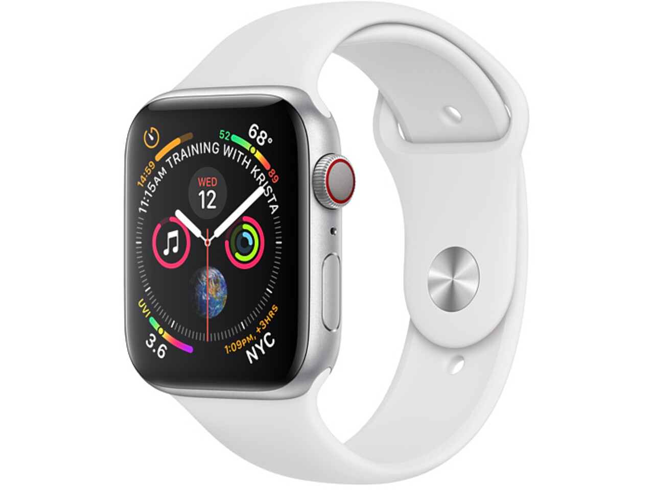 apple watch series 4 cellular 44mm silver aluminum white sport band