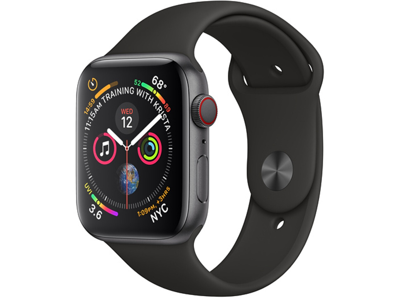 apple watch series 4 cellular 44mm space gray aluminum black sport band