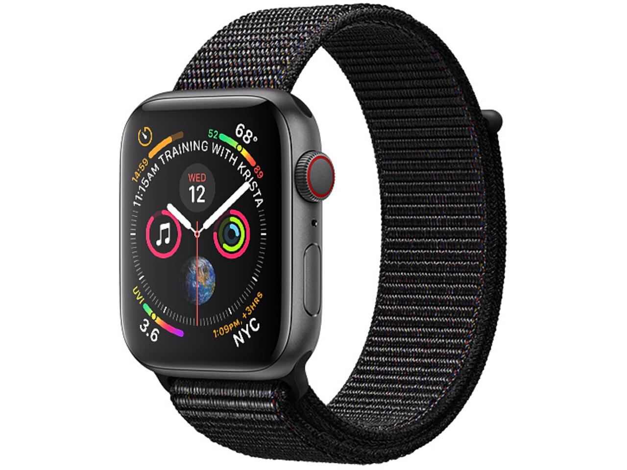 apple watch series 4 cellular 44mm space gray aluminum black sport loop