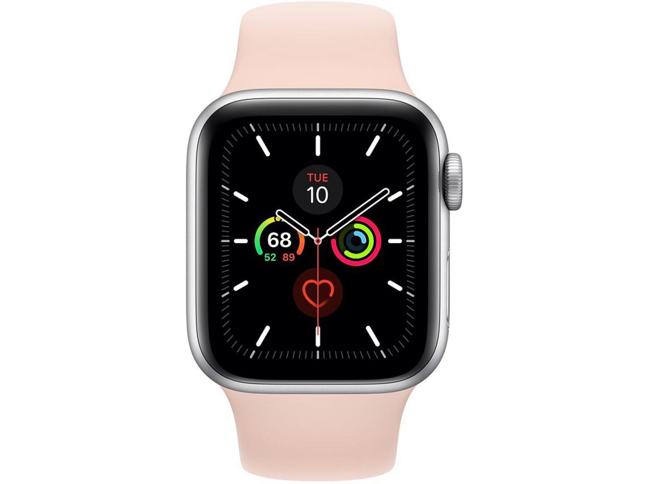 apple watch series 5 40mm silver aluminum pink sand sport band