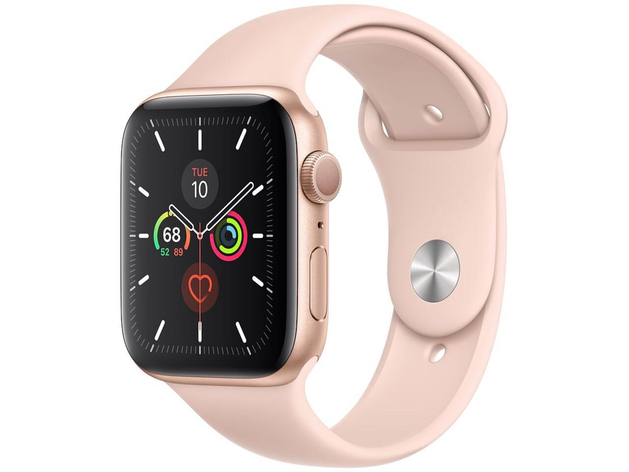 apple watch series 5 44mm gold aluminum pink sand sport band