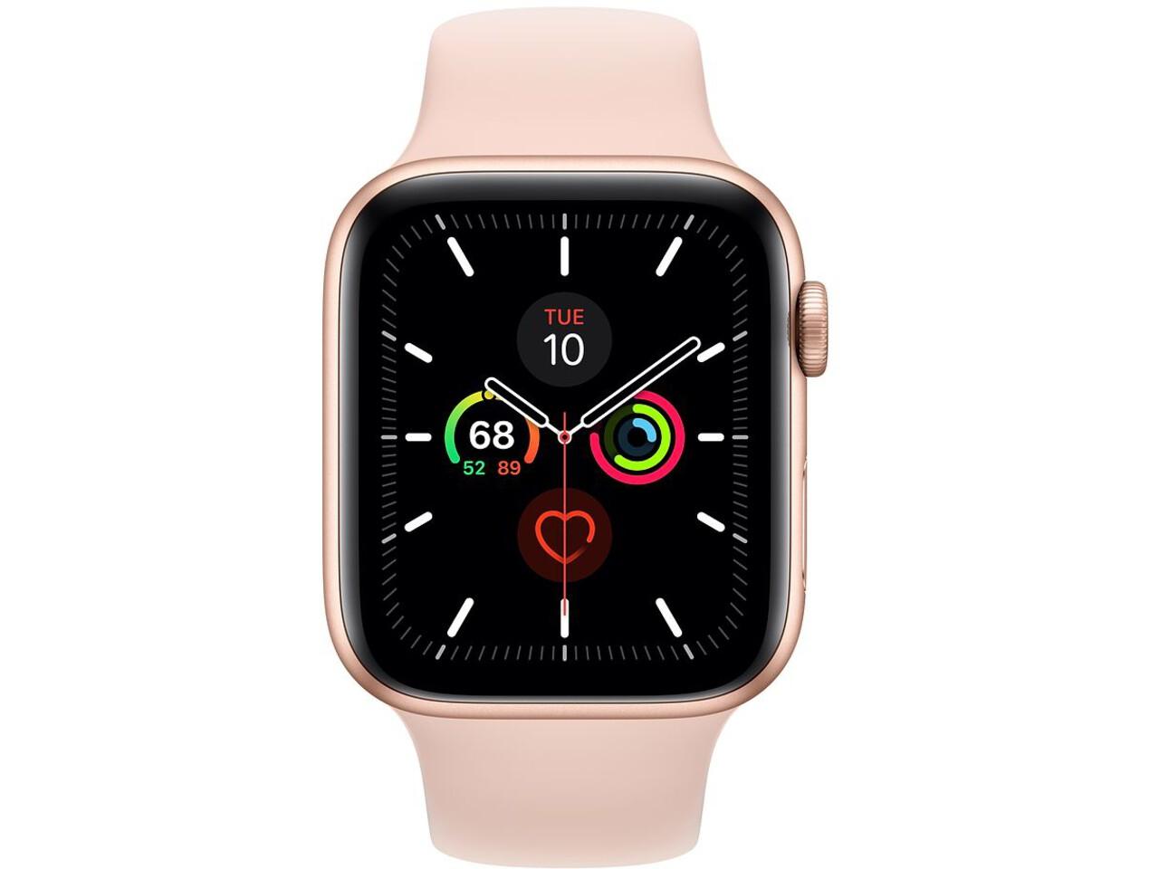 apple watch series 5 cellular 44mm gold aluminum pink sand sport band