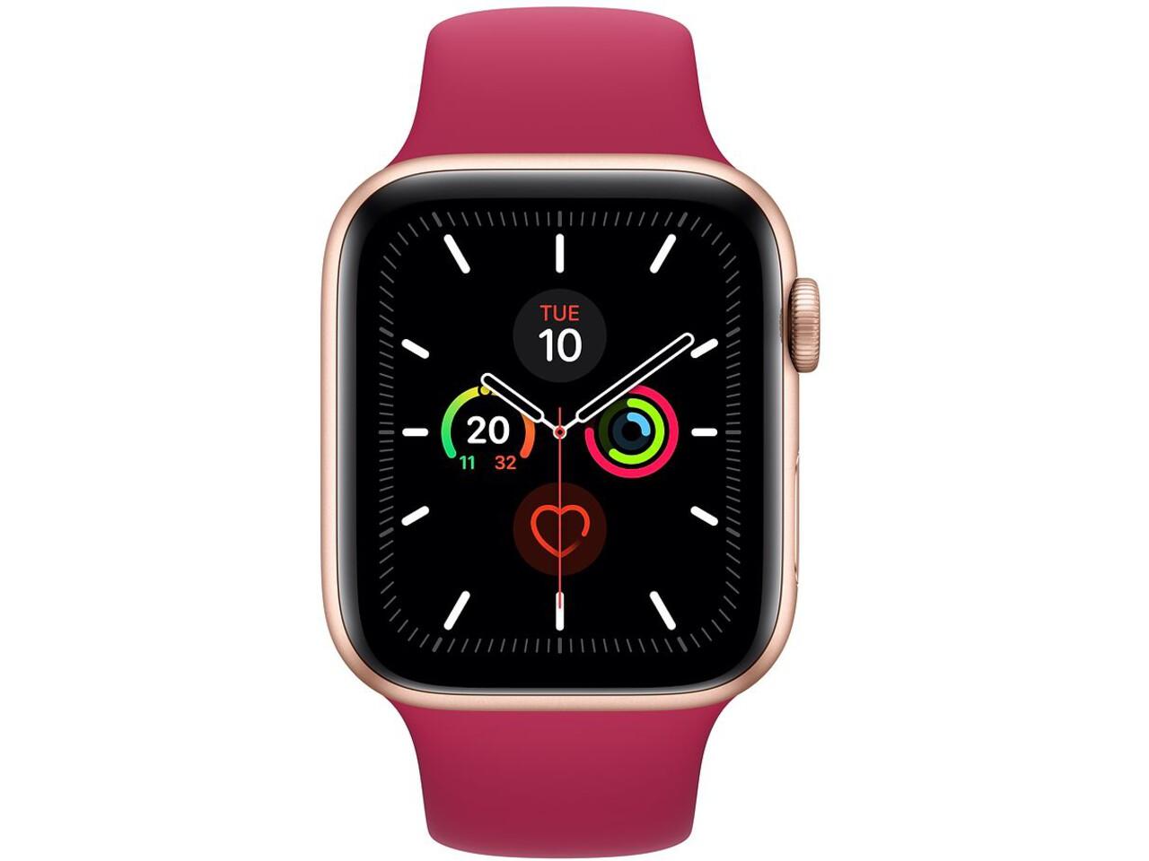 apple watch series 5 cellular 44mm gold aluminum pomegranate sport band