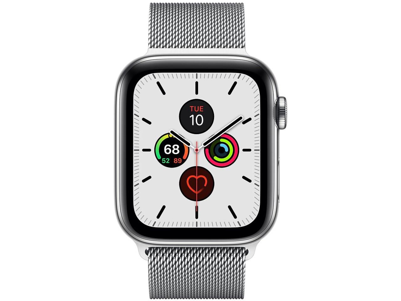 apple watch series 5 cellular 44mm silver stainless steel silver milanese loop